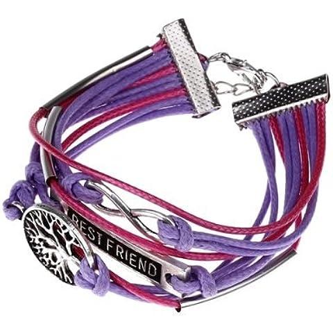 SODIAL(R) Pulsera Brazalete Metal Cuerda de Cuero Color Violeta para Mujer Moda