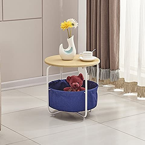 OSPI 2 Tier White Color Side Table/ End Table / Outdoor Table with Storage Canvas Basket - W42xL42xH42cm (Navy Blue+Oak Top)