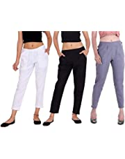 Istyle Can Women's Cotton Regular Fit Trousers for Ladies/Girls/Women's