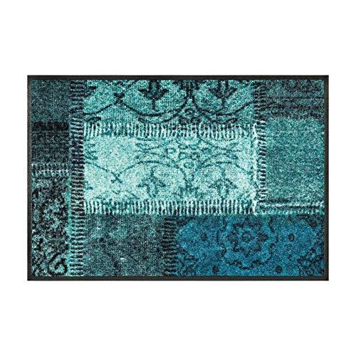 wash+dry Vintage Patches türkis Fußmatte, Acryl, grün, 50 x 75 x 0.7 cm