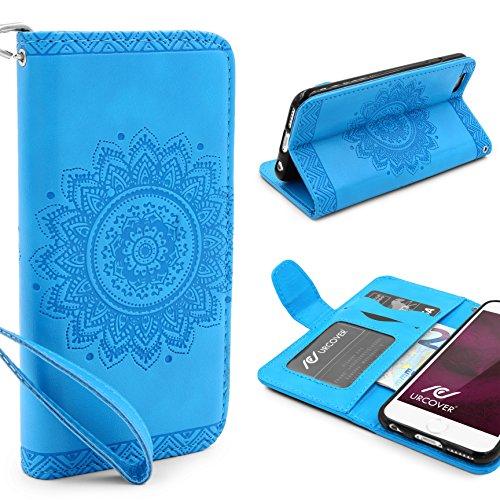 Urcover® Apple iPhone 6 / 6s Handy Schutz-Hülle | Lotus Pattern Wallet Schwarz | Kartenfach & Standfunktion | Flip Case | Trendy Tasche | Cover Schale | Smartphone Zubehör Blau