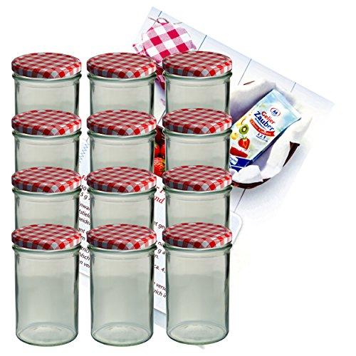 MamboCat 12er Set Sturzglas 435 ml Marmeladenglas Einmachglas Einweckglas To 82 rot karierter Deckel incl. Diamant-Zucker Gelierzauber Rezeptheft