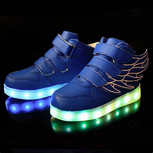 UDreamTime Jungen-Mädchen-LED leuchten blinkende Turnschuhe mit Flügeln Blau