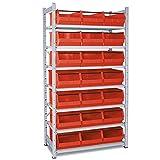 Kleinteileregal, verzinkt, bestückt mit 21 Sichtboxen LB 2T Farbe rot, HxBxT 2000 x 1070 x 515 mm, 7 Böden