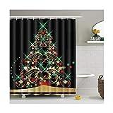 Knbob Anti-Schimmel Duschvorhang Weihnachtsbaum Stil 2 Shower Curtain 150X180CM mit Vorhanghaken Wohnaccessoires