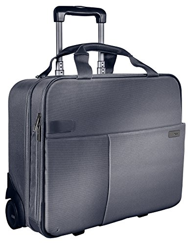 Leitz, Business Softcase Handgepäck-Trolley, Smart Traveller, 17 Fächer, 44 x 37,5 x 23 cm, Polyester/Metall/Leder, Complete, Silber, 60590084