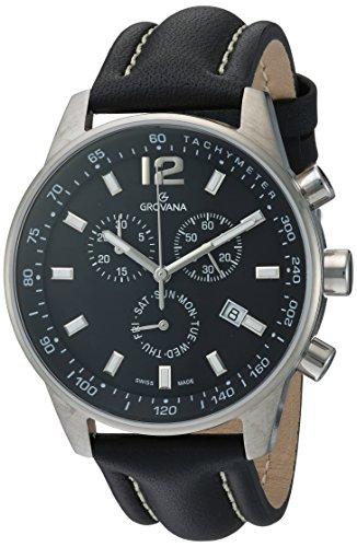 GROVANA - 7015.9537 - Montre Homme - Quartz Chronographe - Chronomètre/Aiguilles Luminescentes - Bracelet Cuir Noir