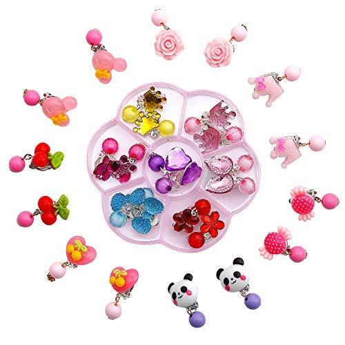Comius Kinder Ohrringe Klips, 14 Paare Clip-on Mädchen Ohrringe Mädchen Spiel Ohrringe Prinzessin Klipp Ohrring Set für Party Gefallen Verpackt