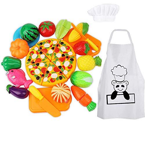 Wobosen 28pcs cucina giocattolo bambini plastica frutta verdura taglio giocattolo finta giocare bambini ruolo giocando giocattolo e chef cappello grembiule (taglio frutta)