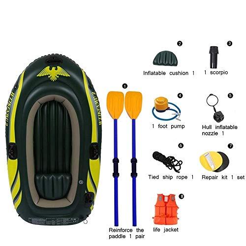 GUOE-YKGM Kayak Aufblasbares 2/3-Personen-Kajak-Sturmboot-Set Mit Kunststoff-Rudern Und Fußpumpe - Best Fishing Travel Navigation - Angler Und Freizeitsportler - Grün -