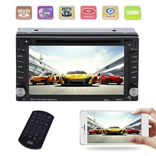 Blackpoolal Autoradio Bluetooth Main Libre 2 Din Écran 6.2'' Tactile HD Navigation GPS DVD/CD/MP3/MP4/RADIO/Carte SD/USB Multimédia Player Stéréo Tuner Caméra de Recul Supporté avec Télécommande