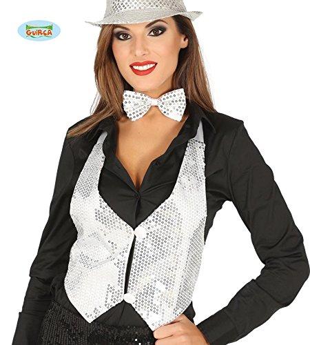 (Weiße Silberne Pailletten Weste für Damen Karneval Fasching Silvester Party Gr. M/L)