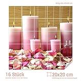 Graz Design 765168_20x20_90 Fliesenaufkleber Kerzen/Massageöl/Rosen | Bad-Fliesen mit Fliesenbildern überkleben (Fliesenmaß: 20x20cm (BxH)//Bild: 90x90cm (BxH))