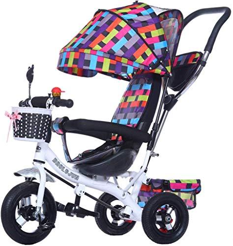 Multifunktionales 4-in-1-Kinderdreirad Kid Trolley Schiebegriff Stoller Fahrrad mit faltbarer Anti-UV-Markise   für 1-3-6 jährige Jungen und Mädchen Babyspielzeug   with Brake 3 Wheels Bike   Buntes