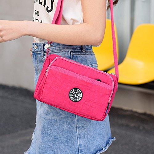 Outreo Schultertasche Damen Umhängetasche Lässige Leichter Kuriertasche Mode Taschen Wasserdicht Messenger Bag Sporttasche Reisetasche für Mädchen Rot 1