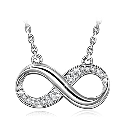 """Susan Y Infinity Pendant Necklace Women Made Crystals from Swarovski 18""""+2"""" Extender, Allergy-Free Passed SGS Inspection"""