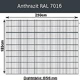 Gittermatte Doppelstabmatte Anthrazitgrau RAL 7016/Höhen 83cm - 203cm x Breite 250cm/Drahtstärke 6/5/6mm/Maschenweite 50 x 200mm (Anthrazit, 183cm x 250 cm)