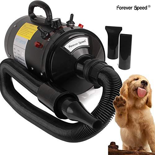 Forever Speed Soffiatore per Cani con 3 Ugelli,velocità di Vento Regolabile, 3 Livelli di Temperature(30℃/70℃),Meno Rumore, Asciugacapelli per Cani per (2400W, Nero)