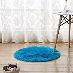 ANYIKE Housse de Coussin de Chaise en Peau de Mouton - Housse de Coussin en Fausse Fourrure de qualité supérieure - pour Chambre à Coucher, canapé, Sol (Bleu marine/30 cm)