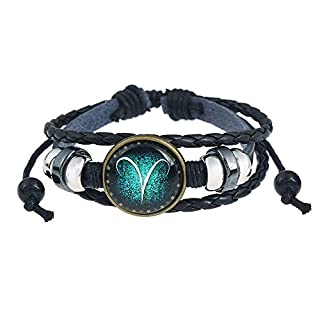 WikiMiu 12 Constellations Hand-Woven Beaded Leather Bracelet Retro Punk Style Constellation Bracelet, for Men Women with Gift Box (Aries)