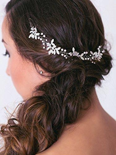 Handmadejewelrylady - Hochzeits-Kristall-Strass-Stirnband, Haarschmuck im Weinrebenstil, Damenkopfschmuck für Abendfeiern - 2