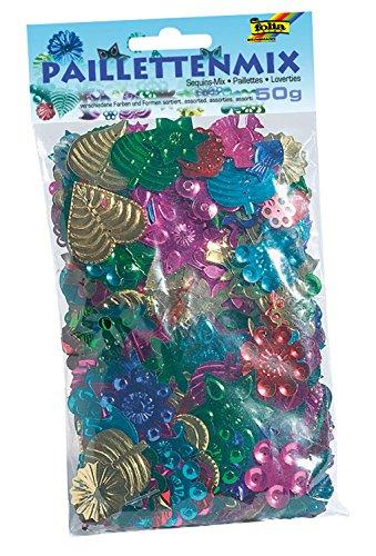 folia 2509 - Pailletten und Streudekomix, verschiedene Formen, 50 g, sortiert, bunt