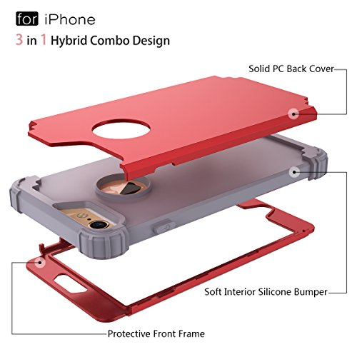 WE LOVE CASE iPhone 6 Plus / 6S Plus Coque, Étui de Protection en Premium Hard Plastique Dur Housse Mince et Clair, 2 in 1 Bumper Anti-Rayures Cas Couverture Anti-dérapante Coque pour Apple iPhone 6 P rouge