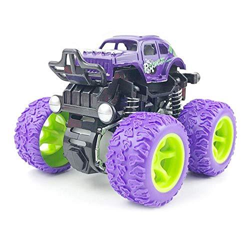 FOONEE Inertia Auto-Spielzeug, Monster-Trucks, Off-Road-Spielzeug für Jungen Mädchen, Push & Go Fahrzeuge, 4 Räder, große Reifen, 360 Grad Drehung, Federungssystem violett - Monster-lkw-spielzeug Mädchen,