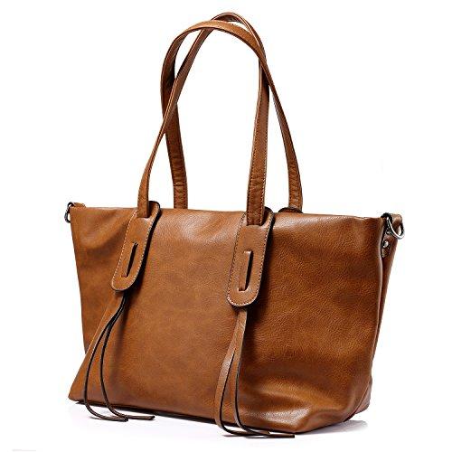 Sacchetti di borsa per il sacchetto di spalla della borsa della borsa delle donne con fascino della nappa Marrone