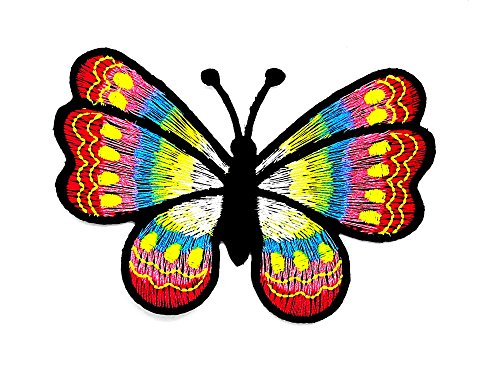 rabana Schmetterling Insekten Boho Hippie Retro Love Peace Cartoon Kids Kinder Cute Animal Patch für Heimwerker-Applikation Eisen auf Patch T Shirt Patch Sew Iron on gesticktes Badge Schild Kostüm