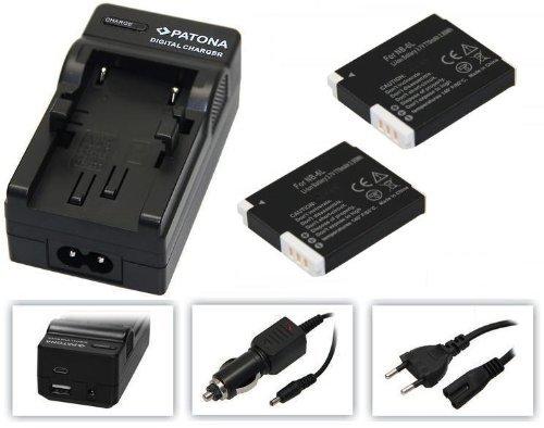 4in1-SET für die Canon PowerShot SX610 HS und SX710 HS --- 2x Akku baugleich NB-6L + 4in1 Ladegerät (u.a. mit USB / micro-USB und Kfz/Auto) + PATONA Displaypad