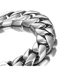 Pulsera de plata de 21,5 cm pulgadas de acero inoxidable de gran alcance de los hombres (con la caja de regalo de marca)