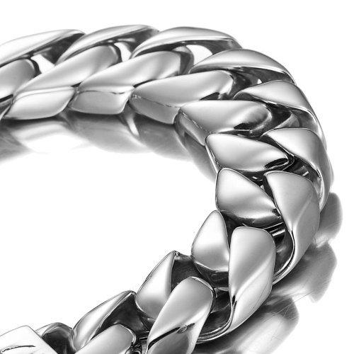 Mächtiges Edelstahl Herren Armband Silber 21,5 cm (mit Marken Geschenkpackung)