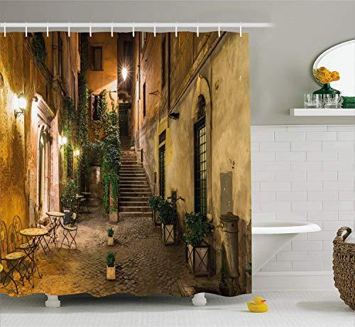 GAOFENFFR Italienischer Duschvorhang Old Courtyard Rom Italien Cafe Stühle Stadt Historische Häuser in Street Cloth Stoff Badezimmer Dekor Set mit Orange Braun - Street-mischung