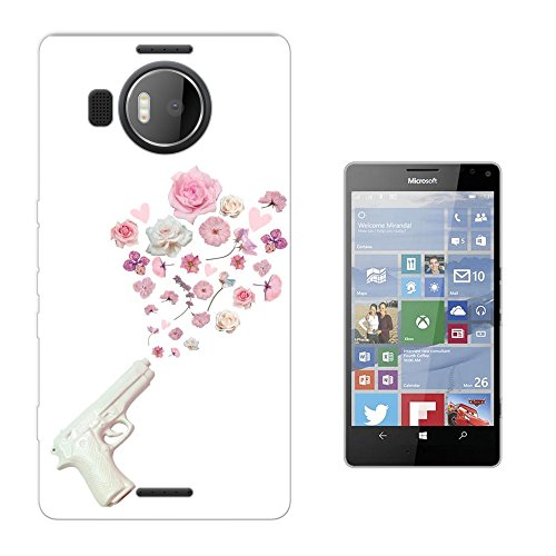 002996 - White Fake Gun Shooting Floral Roses flowers Peace Design Microsoft Nokia Lumia 950 XL Fashion Trend Silikon Hülle Schutzhülle Schutzcase Gel Rubber Silicone Hülle