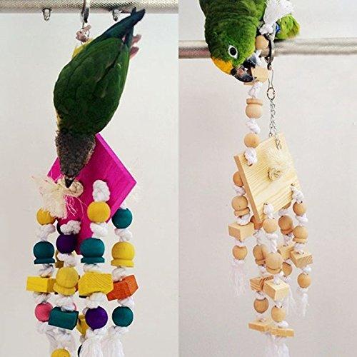 Calli Holz Seil hängend Vogel Papageienkäfig Chew Toys Budgie Cockatoo Conure