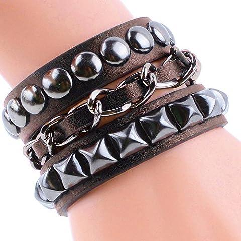 Y azul moda joyería brazalete pulsera para hombre hechos a mano arte DIY pulsera tejido multicapa 4 Color marrón