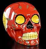 Mexikanischer Totenkopf - Keramik rot - Deko Figur bunt