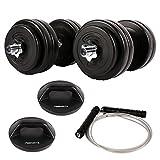 Msports Fitness - Set für den Ganzen Körper - 30 kg Kurzhantelset - Drehbare Liegestützgriffe - Springseil mit Gewichten