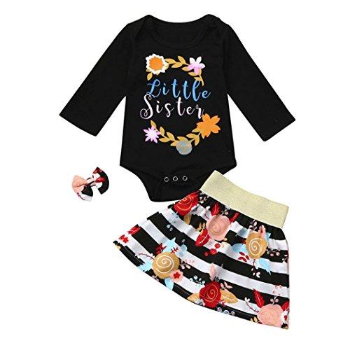 Neugeborenes Baby Bekleidungssets Rock & Tops Sets Longra Baby Mädchen Floral Kleidung Set Strampler + Rock + Stirnband Outfits 2018 Baby Strampler-Anzug (70CM 6Monate, Black) (Stirnband-set Baby-bögen)