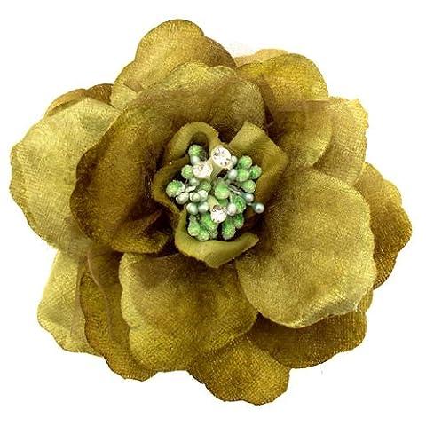 Acosta Vert Olive Tissu Organza effet velours &Corsage fleur cristal-Broche/Elastique Bandeau/Cheveux Accessoires
