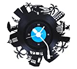 Fufuh Wall Clock Gramophone Record Black...