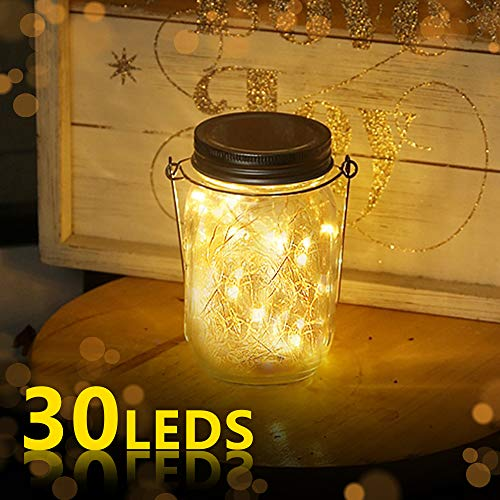 Jar Licht, Jar Fee Licht Außen, 30 LED String Licht Glasgläser Garten Hängeleuchten, LED Weihnachtsbeleuchtung Lichterkette für Party, Hochzeitsdekoration (Warmweiß) ()