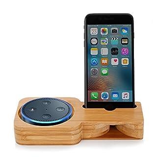 Echo Dot Halterung Echo Dot Ständer Zubehör Lautsprecher Ständer, 3 in 1 Echo Dot Halter Handy Bambus Stand Verstärker für Echo Dot, Echo Dot 2, Echo Plus, iPhone X, Sumsung und Andere Smartphones