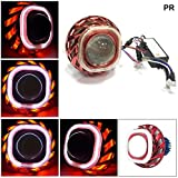 PR Projector Lamp Square (Red and White) Led Headlight High Beam Low Beam Devil Eye Blue Lens projector For Yamaha Ray Z 1 Pcs
