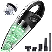 Car Vacuum Cleaner, 3.2KPa Strong Cyclone Suction, Home Wireless Handheld Vacuum, 12V 120W Rechargeable, Wet Dry Dual Use, for Pet Hair Car Home Cleaning (Black)