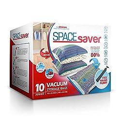 Space Saver hochwertige große Vakuum-Aufbewahrungsbeutel, 10Stück. Mit Handpumpe für Reisen.