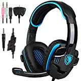PlayStation 4, PS4 casque, Stereo Gaming Headset casque avec microphone pour Playstation4 PS4 Xbox One PC Ordinateur avec Isolation acoustique & Volume Control- SADES SA-708GT (Bleu)