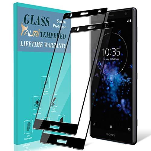 TAURI [2 Stück Schutzfolie für Sony Xperia XZ2 Panzerglas, [Volle Abdeckung] [9H Härte] Gehärtetem Glas Folie Hartglas Bildschirmschutzfolie - Schwarz