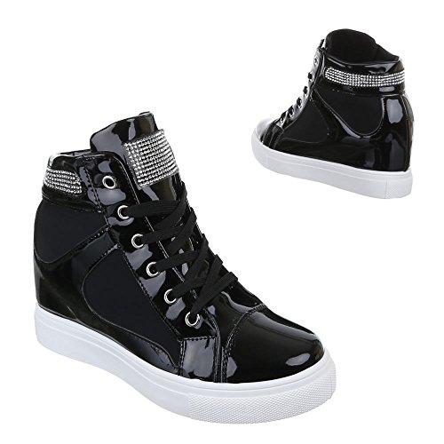 Damen Schuhe, A6012, FREIZEITSCHUHE HIGH-TOP SNEAKERS KEILABSATZ Schwarz